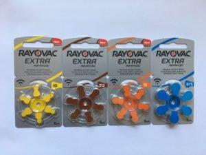 Bilder på Rayovacs hörapparatsbtatterier 10 gul, 312 brun, 13 orange och 675 blå