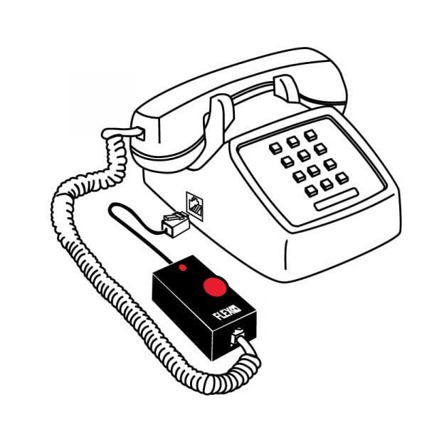 Bild på lurförstärkaren kopplad till telefon
